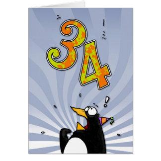 34. Geburtstag - Pinguin-Überraschungs-Karte Karte