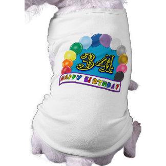 34 Geburtstags-Ballon-Entwurf Haustier T-shirt
