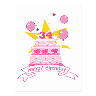 34 Jährig-Geburtstags-Kuchen Postkarte