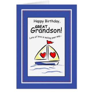 3541 groß - Enkel religiöser Segelboot-Geburtstag Karte