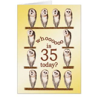 35. Geburtstag, neugierige Eulenkarte Karte