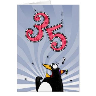 35. Geburtstag - Pinguin-Überraschungs-Karte Karte