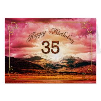 35 Geburtstag, Sonnenuntergang über den Bergen Karte