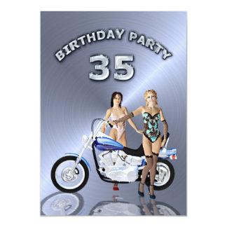 35. Geburtstags-Party Einladung mit einem Motorrad