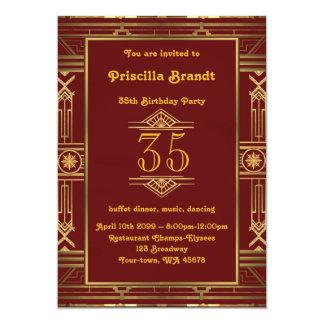 35., Geburtstagseinladung Frau, große Gatsby Art Karte
