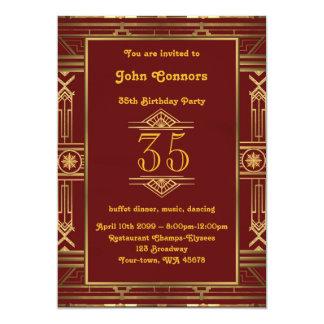 35., Geburtstagseinladung Mann, Gatsby Art, Karte