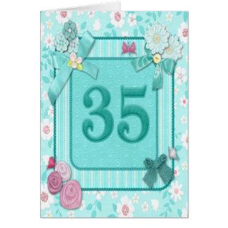 35. Geburtstagskarte mit Blumen Karte