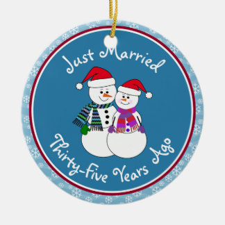 35. Jahrestags-Geschenk-Spaß-Schnee-Paare Keramik Ornament