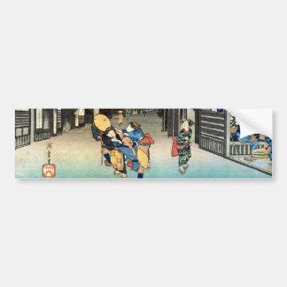 36. 御油宿, 広重 Goyu-juku, Hiroshige, Ukiyo-e Autoaufkleber