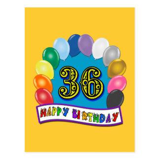 36. Geburtstags-Ballon-Entwurf Postkarte
