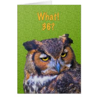36. Geburtstags-Karte mit Virginia-Uhu-Vogel Karte