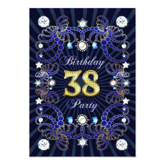 38. Geburtstags-Party laden mit Massen der Juwelen 12,7 X 17,8 Cm Einladungskarte