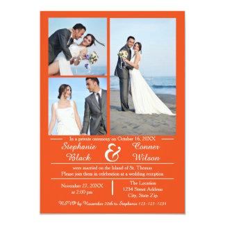 3/4 Foto-vertikale Orange - Hochzeits-Mitteilung 12,7 X 17,8 Cm Einladungskarte