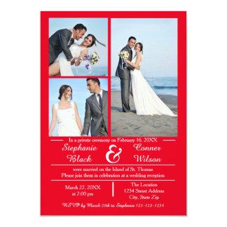 3/4 Foto-vertikales Rot - Hochzeits-Mitteilung 12,7 X 17,8 Cm Einladungskarte