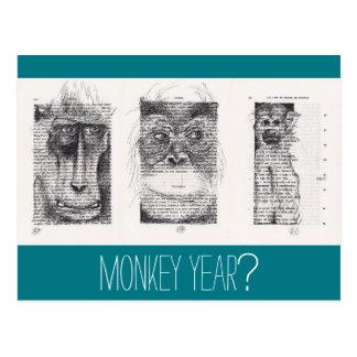 3 Affe-unkonventioneller Neujahrsfest-Tierkreis P Postkarte