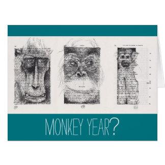 3 Affe-unkonventionelles Chinesisches Neujahrsfest Riesige Grußkarte