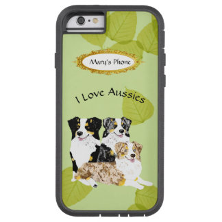 3 australische Schäfer-Hunde auf grünem Blätter Tough Xtreme iPhone 6 Hülle