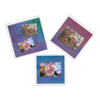 3 Behälter - Kirschblüten-Foto-Set Acryl Tablett
