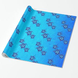 3 blaue Honu Schildkröten Geschenkpapier