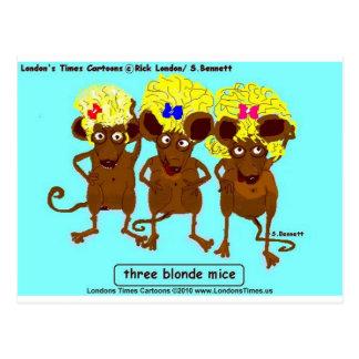 3 blonde Mäuselustige T-Shirts-Tassen-Karten u. Postkarten