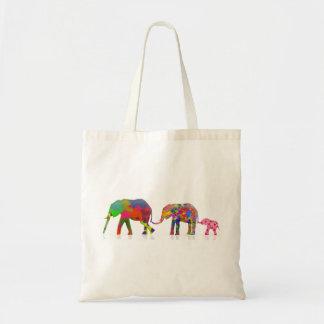 3 bunte gehende Elefanten - Pop-Kunst Budget Stoffbeutel