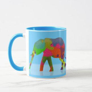 3 bunte gehende Elefanten - Pop-Kunst Tasse
