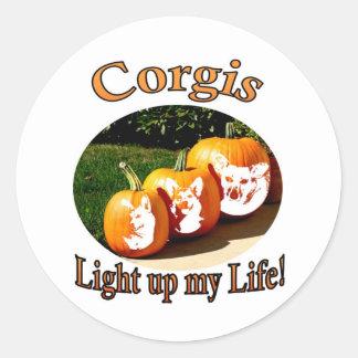 3 Corgis leuchten meinem Leben Runder Aufkleber