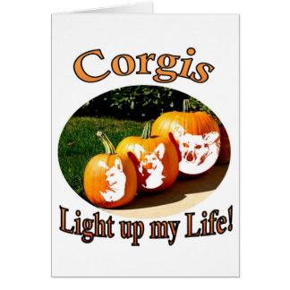 3 Corgis leuchten meinen Leben-Kürbisen Karten