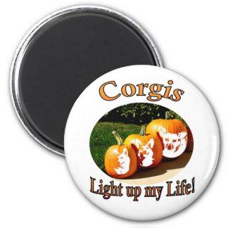 3 Corgis leuchten meinen Leben-Kürbisen Runder Magnet 5,1 Cm