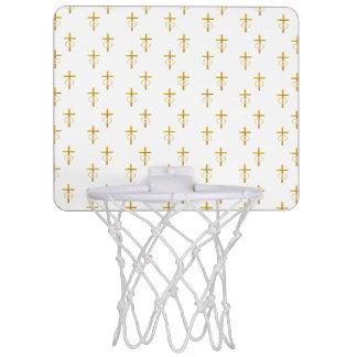 """3-D"" Blick-goldenes Kreuz mit Eheringen Mini Basketball Netz"