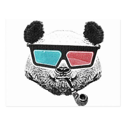 3-D Gläser des Vintagen Pandas Postkarte
