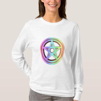 3-D Pastellregenbogen-Pentagramm T-Shirt