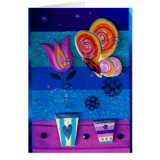 3-D Schmetterling u. Blume Karte