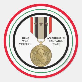 3 DER KAMPAGNEN-STERN-IRAK-KRIEGSVETERAN RUNDER AUFKLEBER