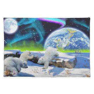 3 Eisbär CUB, das im Schnee - Tag der Erde-Kunst Stofftischset