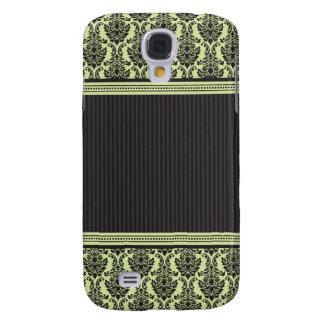 3 elegantes Damast-Grün/Schwarzes Galaxy S4 Hülle