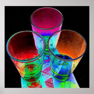 3 farbige Cocktail-Schnapsglas - Art 1 Posterdrucke