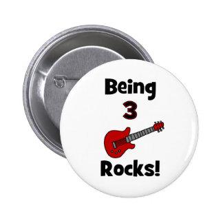 3 Felsen sein! Mit Gitarre Rockstar Rocker Runder Button 5,1 Cm