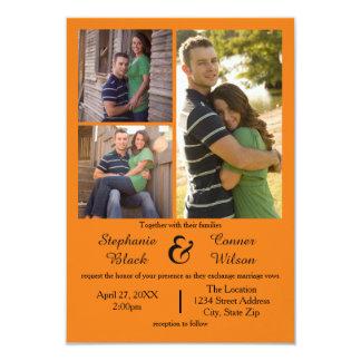 3 Foto-Orange - Einladung der Hochzeits-3x5