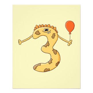 3. Geburtstag. Gelbe Geburtstagsmonsterkarikatur Individuelle Flyer