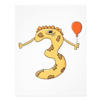 3. Geburtstag. Gelbe Geburtstagsmonsterkarikatur Vollfarbige Flyer