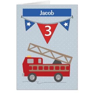 3. GeburtstagFiretruck Name-Jakobs Grußkarte