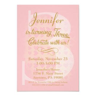 3. Geburtstags-Einladungs-Mädchen-rosa Goldherzen Karte