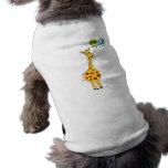 3. Geburtstags-Giraffe und Ballone Ärmelfreies Hunde-Shirt