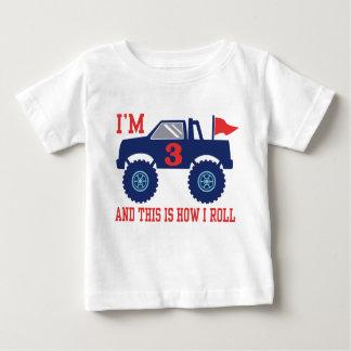3. Geburtstags-Monster-LKW Baby T-shirt