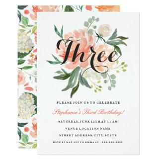 3. Geburtstags-rosa Pfirsich-Blumeneinladung Karte