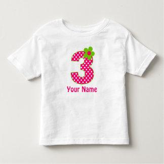 3. Geburtstags-rosa und grüner Kleinkinder T-shirt