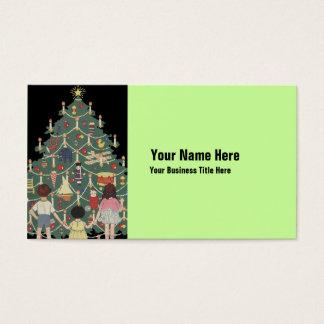 3 Kinder und ein Weihnachtsbaum - Vintage Visitenkarte