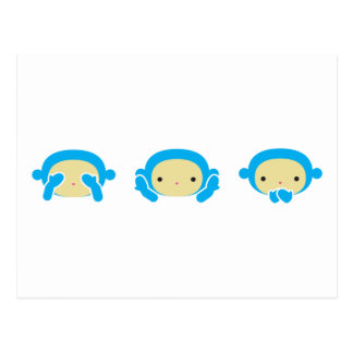 3 kluge Affen Postkarte