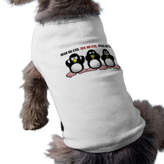 3 kluge Pinguine Ärmelfreies Hunde-Shirt